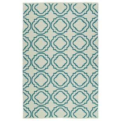 Brisa Teal 8 ft. x 10 ft. Indoor/Outdoor Reversible Area Rug