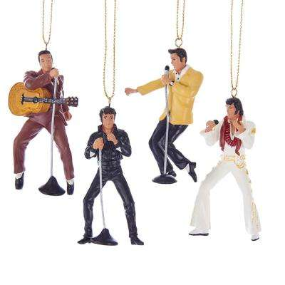 Kurt Adler 2.5 in. Resin Elvis Presley 4-Piece Ornament Gift Set