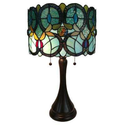 13.5 in. Multicolored Tiffany Style Floral Table Lamp