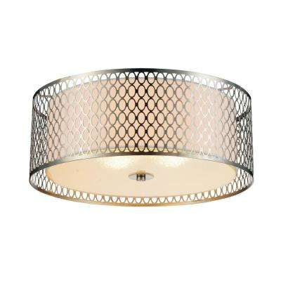 Mikayla 3-Light Satin Nickel Flushmount