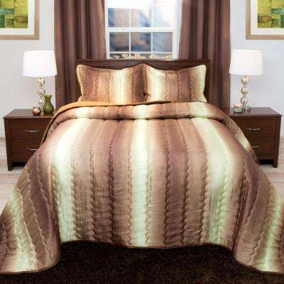 Striped 3-Piece Chocolate and Taupe Metallic Full Comforter Set