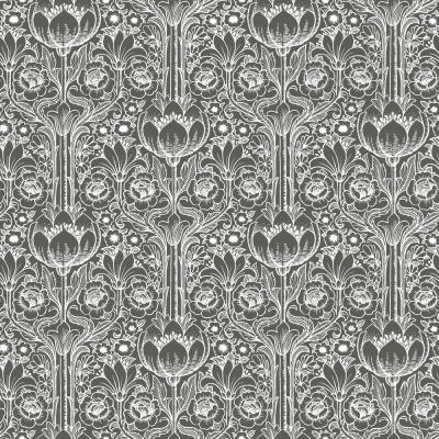 Black Garden Damask Wallpaper