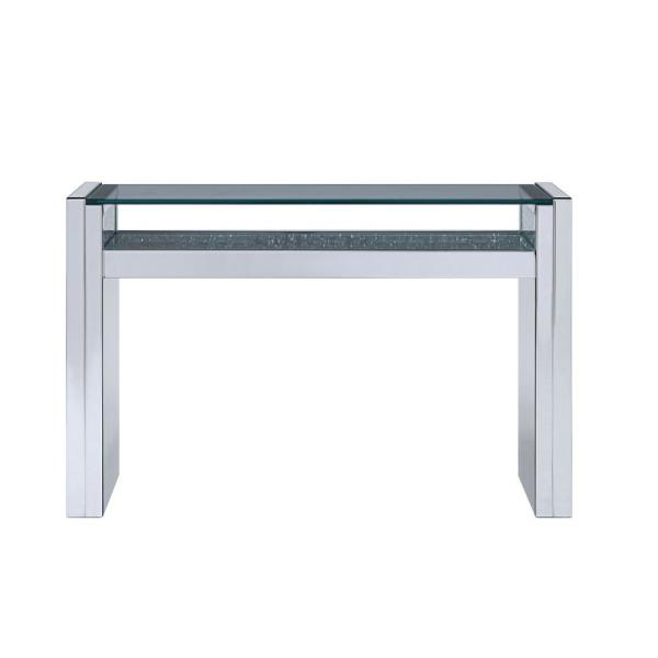 Acme Furniture Nysa Mirrored and Faux Crystals Sofa Table 81473
