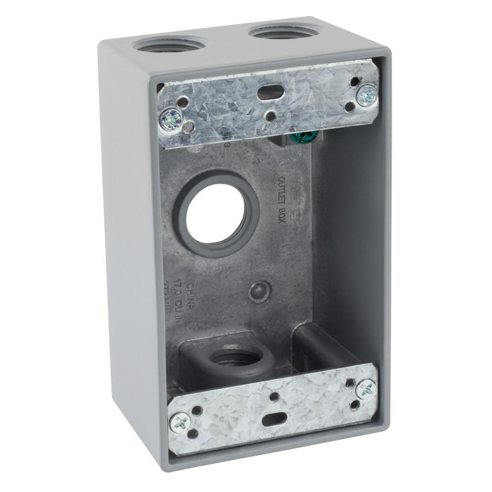 1/2 in. Gray 1-Gang 4-Holes Weatherproof Box