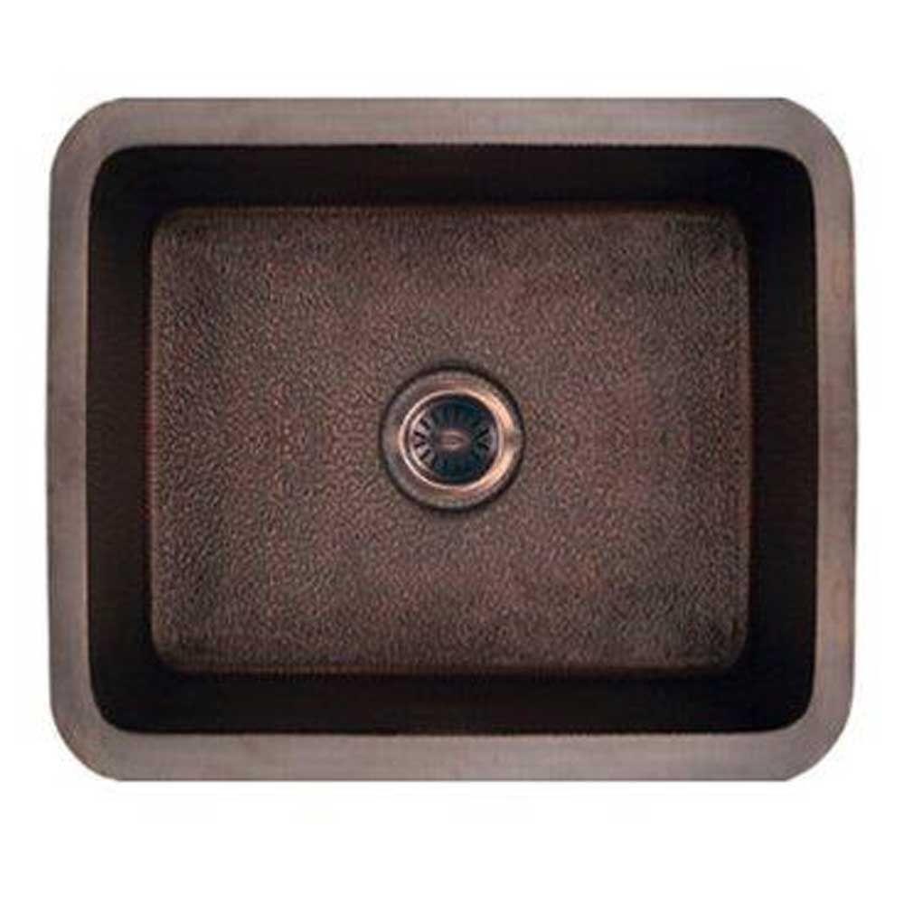 Whitehaus Collection Copperhaus Undermount Copper 19 in. Single Basin Kitchen Sink in Hammered Copper