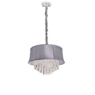 Catherine 3 Light Halogen Polished Chrome Chandelier with Steel Shades