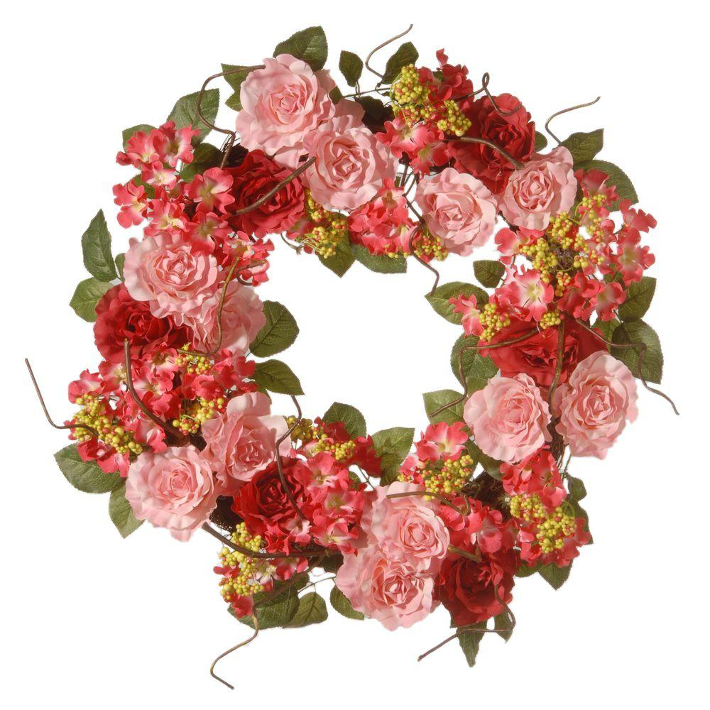 24 in. Pink Mix Rose Wreath