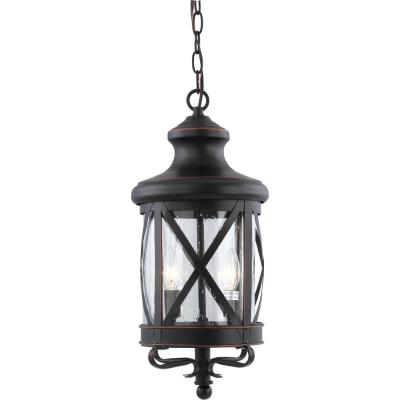 Large 3-Light Black Copper Aluminum Outdoor Lamp/Lantern/Cottage Candle-Style Hanging Pendant with Clear Seedy Glass
