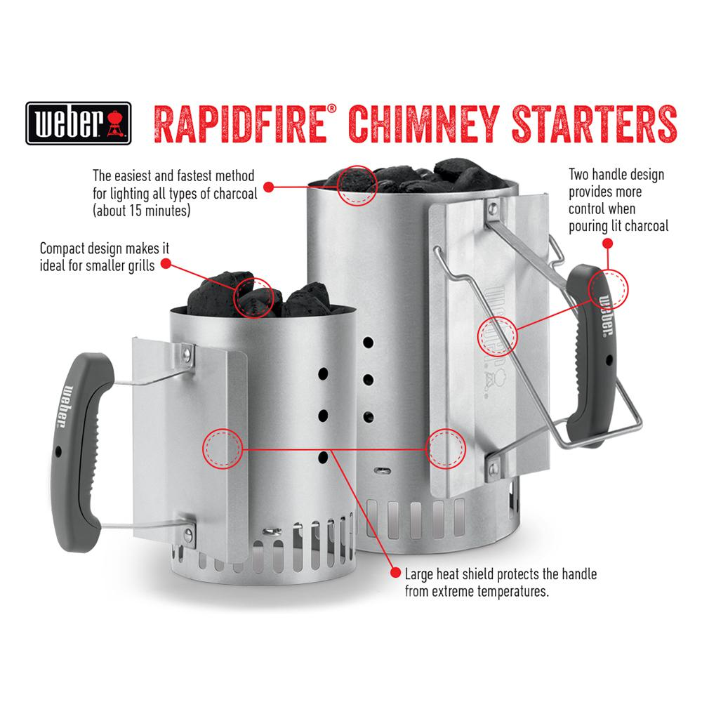 Weber Compact Rapidfire Chimney Starter Aluminized Steel BBQ Outdoor Cooking