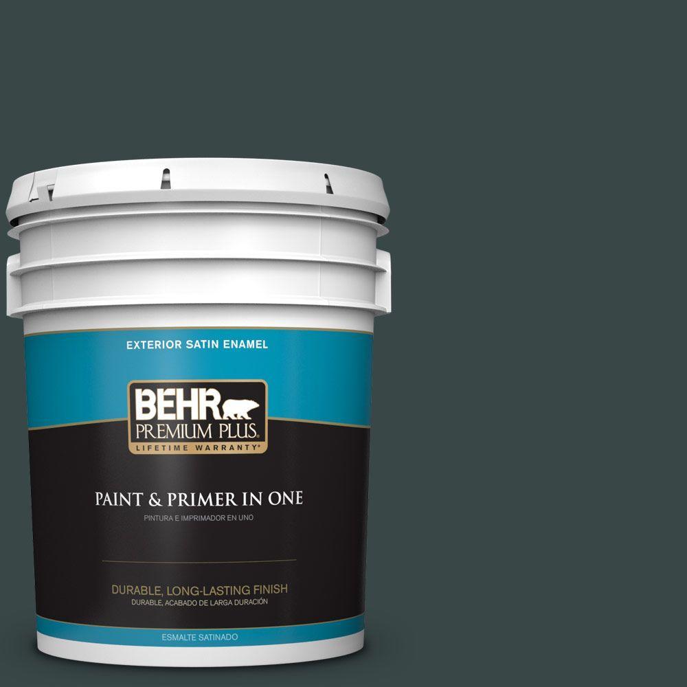 BEHR Premium Plus 5-gal. #T14-16 Arboretum Satin Enamel Exterior Paint