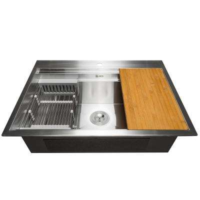 Handcrafted All-in-One Drop-In 32 in. x 22 in. x 9 in. Single Bowl Kitchen Sink in Stainless Steel with Accessories