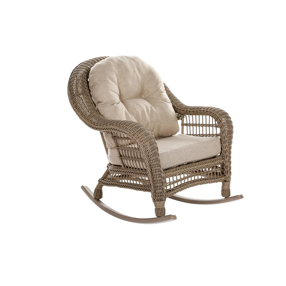 Cool W Unlimited Saturn Collection Wicker Outdoor Rocking Chair With Beige Cushions Inzonedesignstudio Interior Chair Design Inzonedesignstudiocom