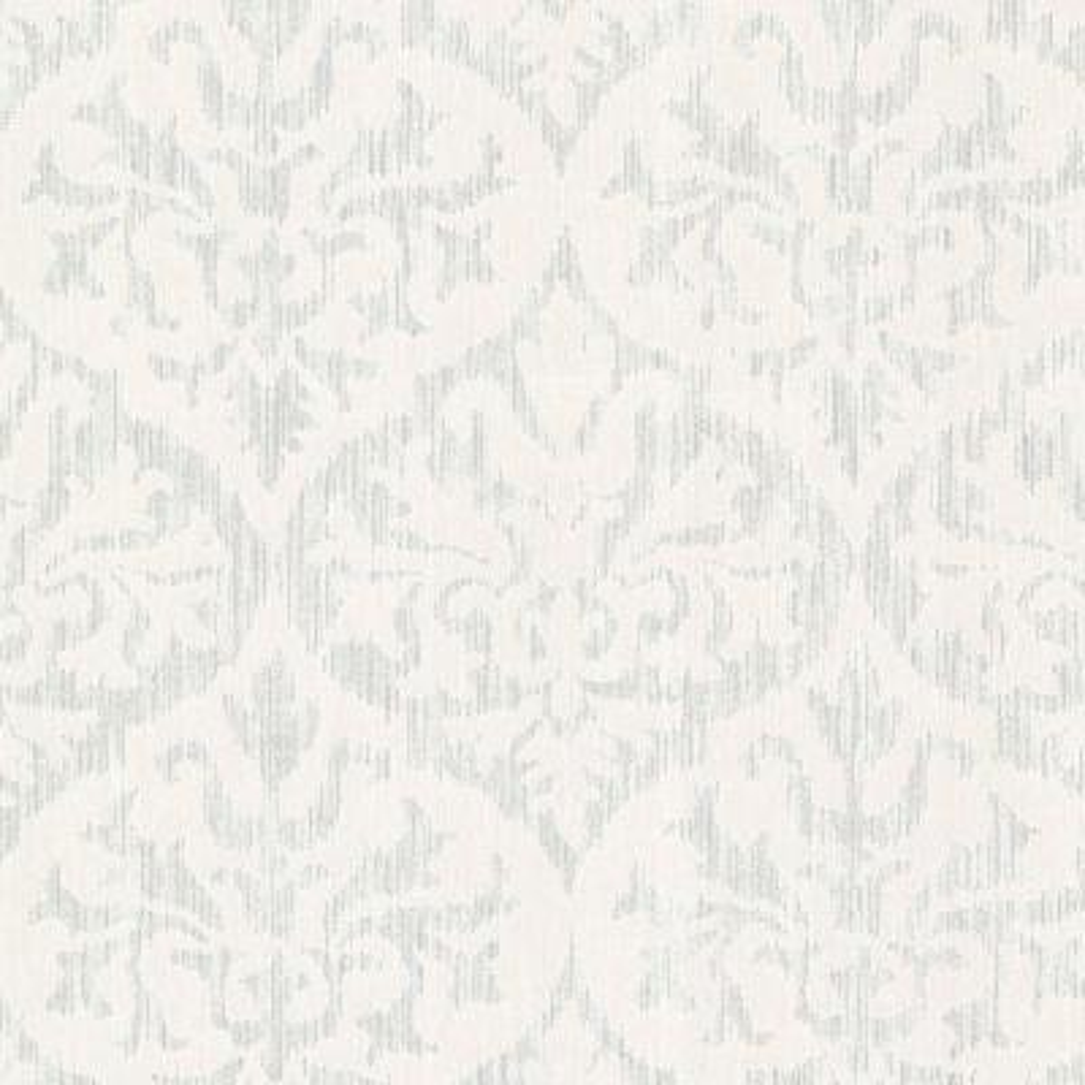 Sumatra Silver Ikat Damask Wallpaper