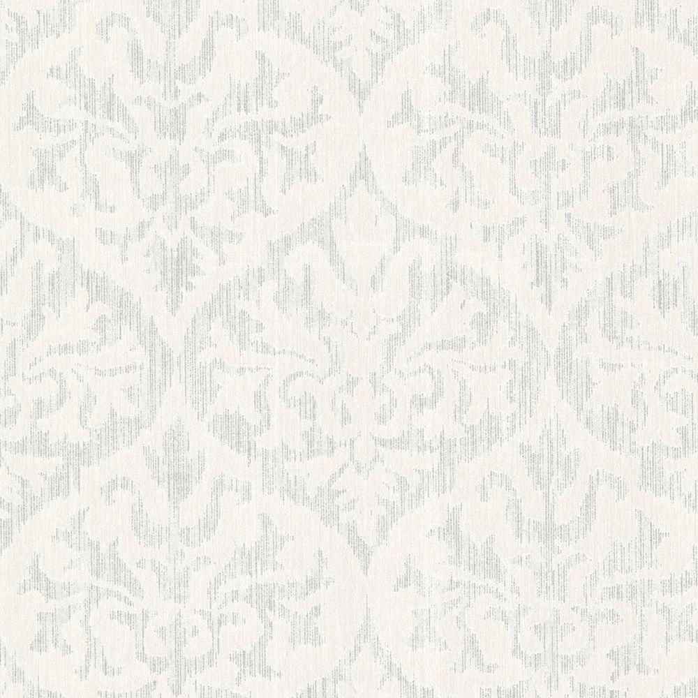 Kenneth James Sumatra Silver Ikat Damask Wallpaper 2542-20701