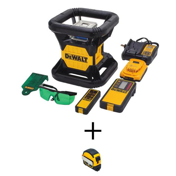 20-Volt MAX Li-Ion 250 ft. Green Self-Leveling Rotary Laser Level Kit with 9 ft. x 1/2 in. Pocket Magnetic Tape Measure