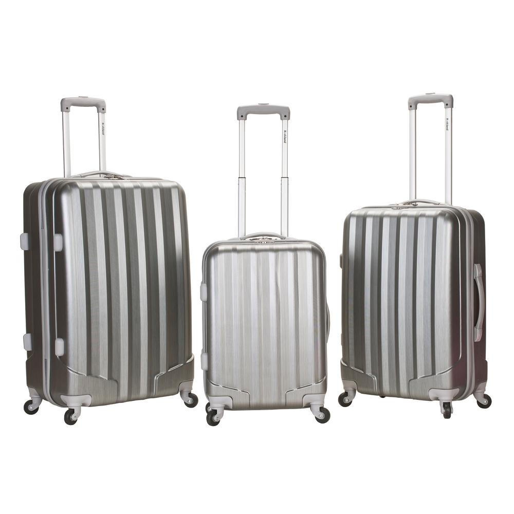 Rockland Metallic 3-Piece Hardside Spinner Luggage Set, GT Silver
