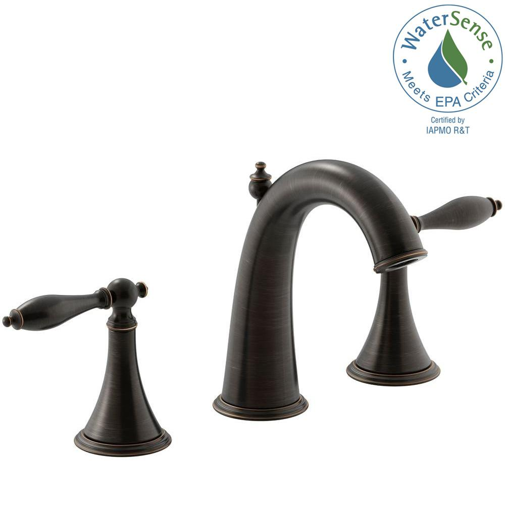Finial Traditional 8 in. Widespread 2-Handle Mid-Arc Bathroom Faucet in
