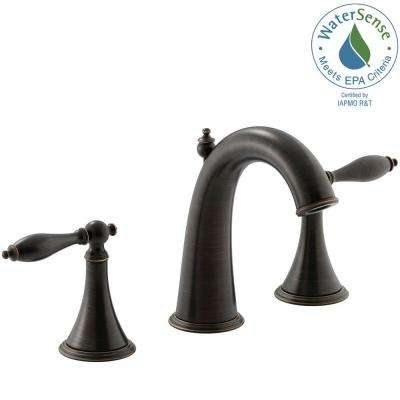 Finial Traditional 8 in. Widespread 2-Handle Mid-Arc Bathroom Faucet in Oil-Rubbed Bronze
