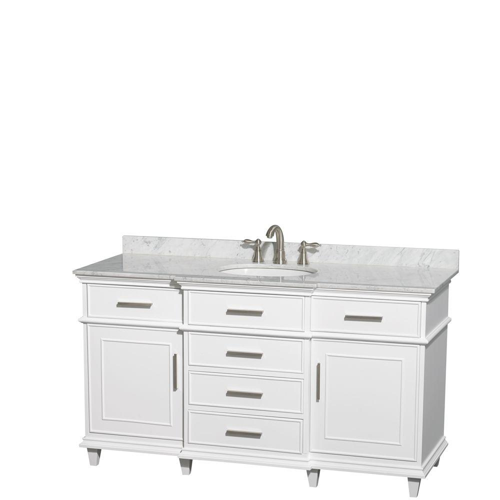 Wyndham Collection Berkeley 60 In. Vanity In White With Marble Vanity Top  In Carrara White And Oval Basin-WCV171760SWHCMUNRMXX - The Home Depot