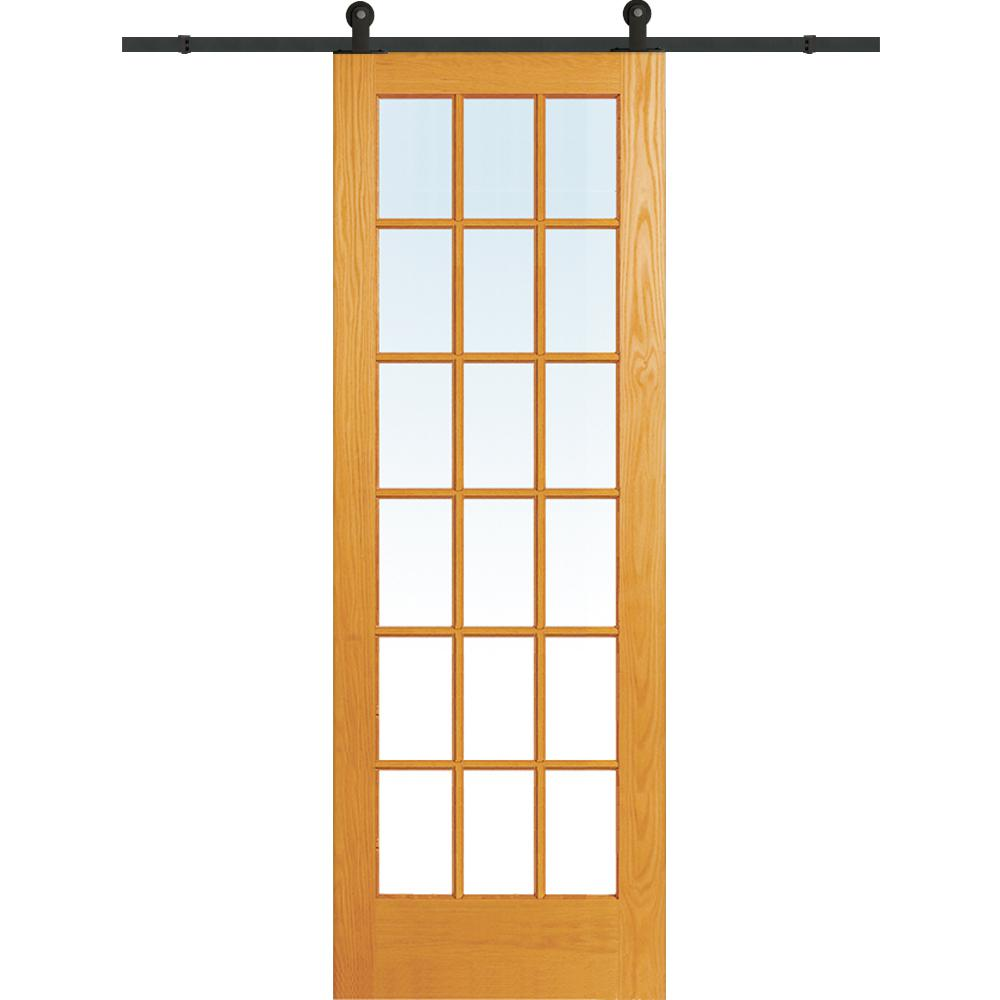 30 in. x 96 in. Clear True Divided 18-Lite Unfinished Pine