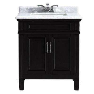 Blaine 30 in. Vanity in Black with Marble Vanity Top in Carrara White