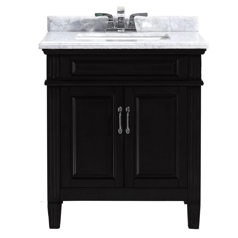 Blaine 30 in. Vanity in Black with Marble Vanity Top in Carrara White