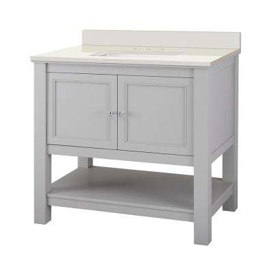 Gazette 37 in. W x 22 in. D Vanity in Grey with Engineered Marble Vanity Top in Winter White with White Sink
