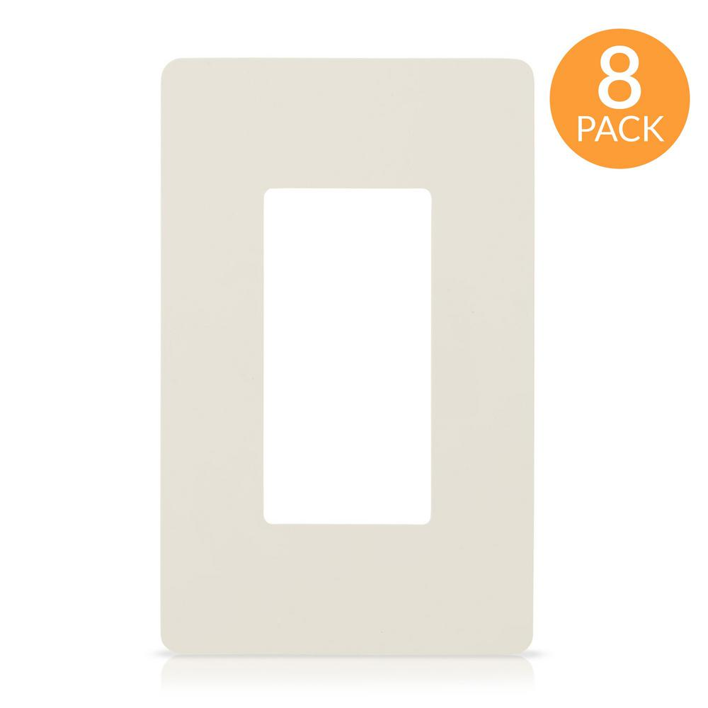 Faith 1-Gang Decorator Screwless Wall Plate, GFCI Outlet/Rocker Switch Cover, Single Gang, Light Almond (8-Pack)