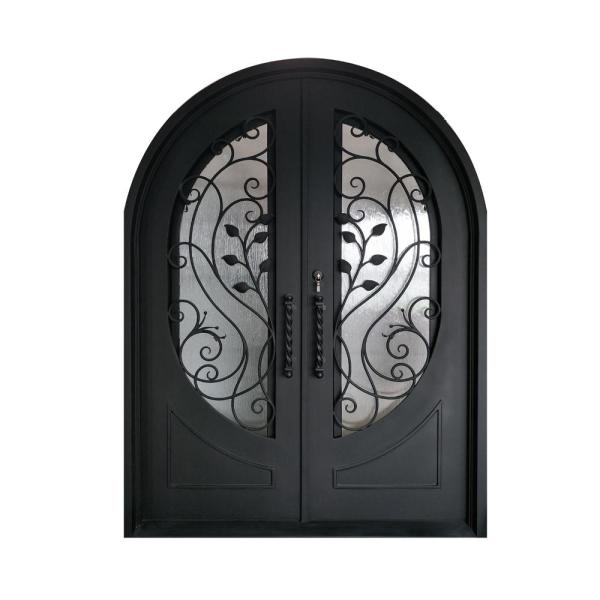 72 in. x 96 in. Matte Black Right-Hand Inswing with 3/4 Oval Clear Double-Glazed Glass Iron Prehung Front Door