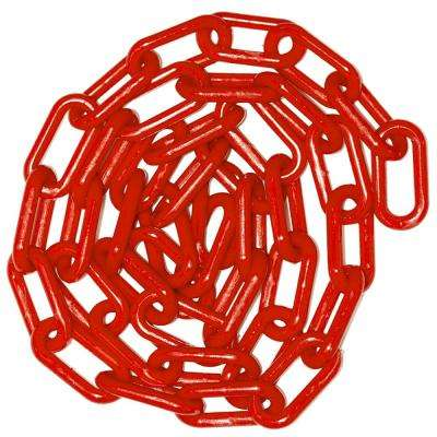 1.5 in. (#6, 38 mm) x 100 ft. Red Plastic Chain