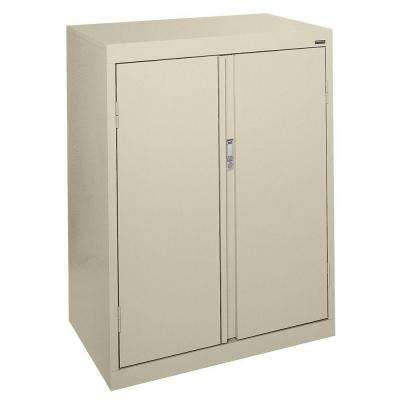 System Series 30 in. W x 42 in. H x 18 in. D Counter Height Storage Cabinet with Fixed Shelves in Putty