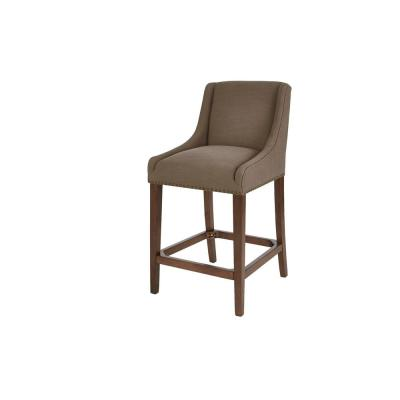 Blakewood Haze Oak Finish Upholstered Counter Stool with Back and Khaki Seat (20.47 in. W x 40.35 in. H)