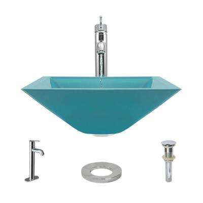 Glass Vessel Sink in Cerulean with R9-7001 Faucet and Pop-Up Drain in Chrome