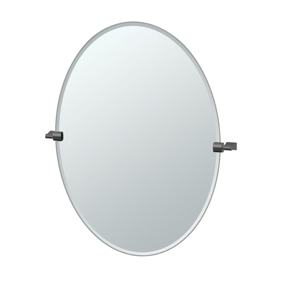 Bleu 28 in. x 32 in. Frameless Single Large Oval Mirror
