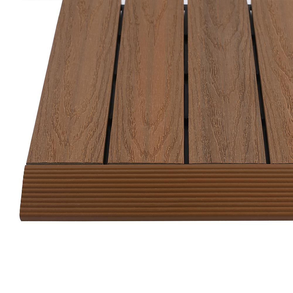 Quick Deck Composite Tile Straight Trim In Peruvian Teak 4 Pieces Box
