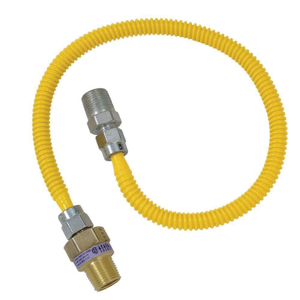 Brasscraft Safety+PLUS 1/2 inch MIP Excess Flow Valve x 3/8 inch MIP x 24 inch Gas Connector 3/8 inch O.D. (40,000 BTU) by BrassCraft