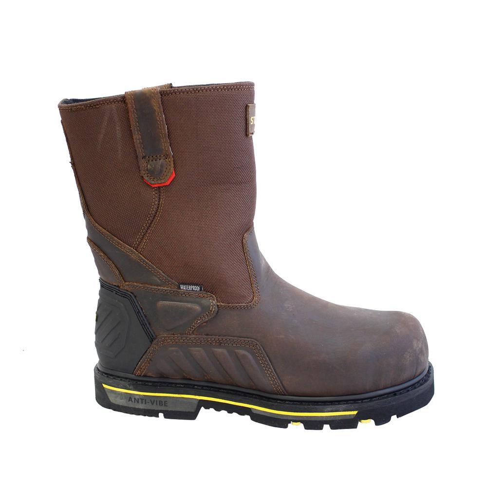 Exploit 2.0 Men's Size 12 Brown Leather/Nylon Composite Toe 12 in. Wellington Waterproof Work Boot
