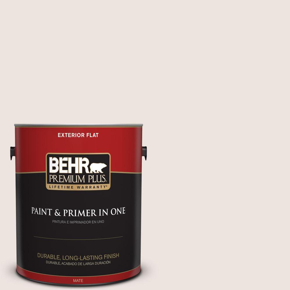 BEHR Premium Plus 1-gal. #ECC-57-2 Shady White Flat Exterior Paint