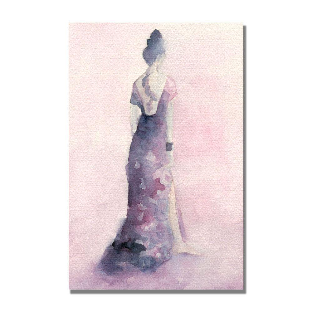 Trademark Fine Art 16 in. x 24 in. Long Purple and Pink Dress Canvas Art-DISCONTINUED
