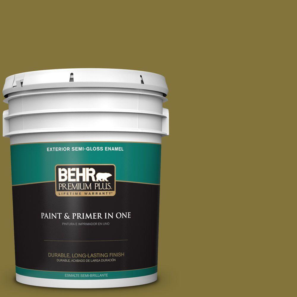 5-gal. #390D-7 Marsh Grass Semi-Gloss Enamel Exterior Paint