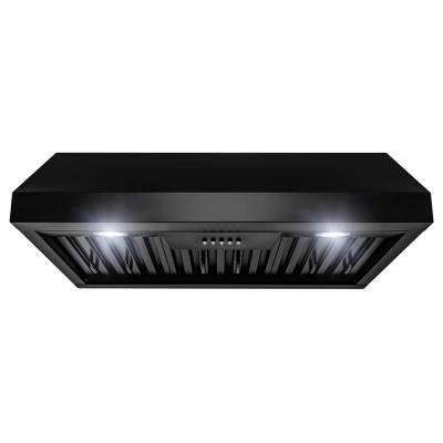 30 in. 500 CFM Vented Under Cabinet Range Hood in Matte Black with LEDs and Push Buttons