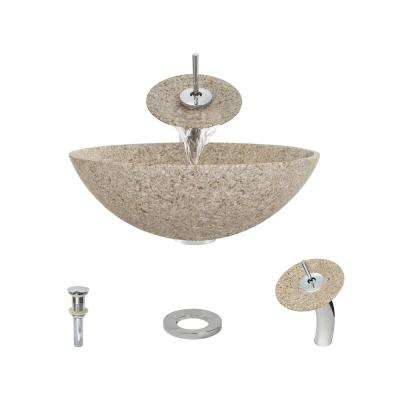 Stone Vessel Sink in Honed Basalt Tan Granite with Waterfall Faucet and Pop-Up Drain in Chrome