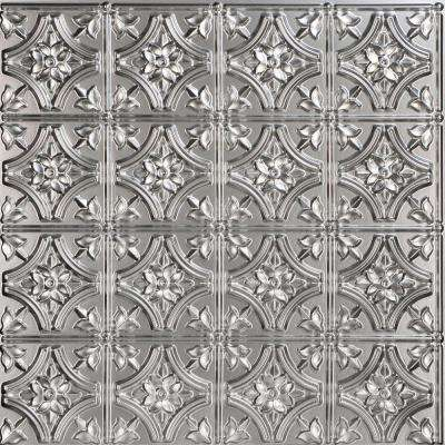 Gothic Reims 2 ft. x 2 ft. PVC Glue-up Ceiling Tile in Silver (100 sq. ft. / case)