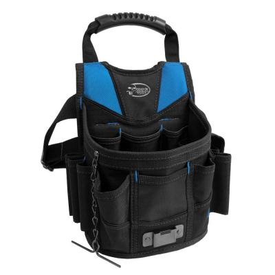 10 in. Open Top Tool Tote Utility Pouch Bag with Black Finish and 12 total pockets