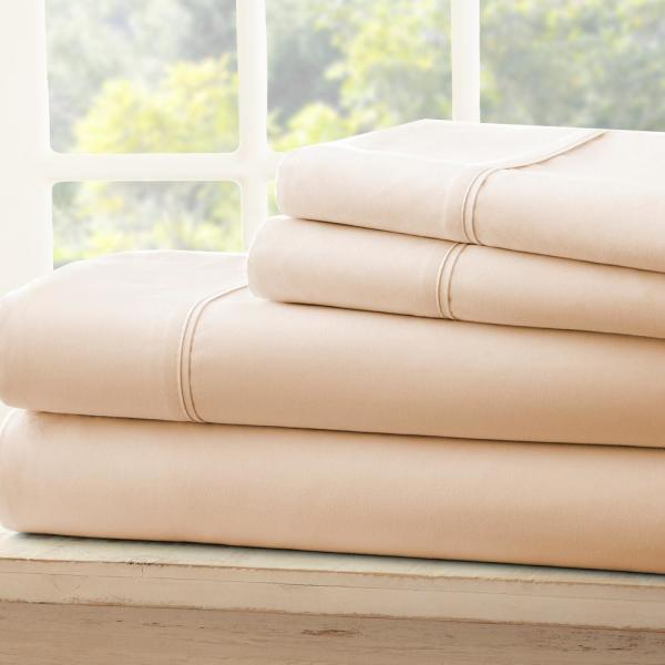 Becky Cameron Performance Ivory Twin 4-Piece Bed Sheet Set IEH-4PC-TW-IV
