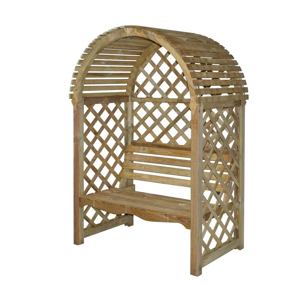 English Garden 53 in  x 79 in  Victorian Wood Arbor with Seat. The Home Depot