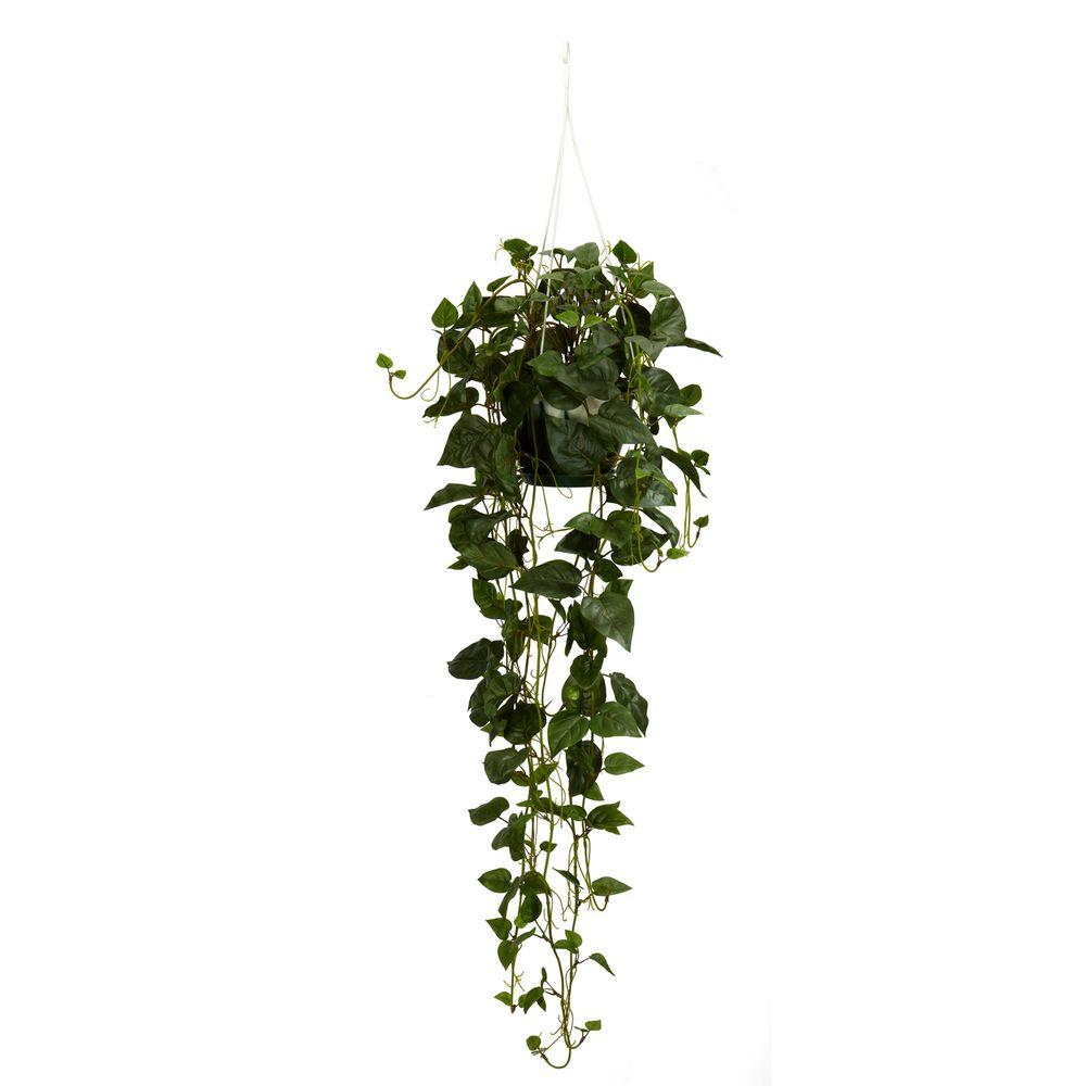 Nearly Natural 44 In H Green Philodendron Hanging Basket
