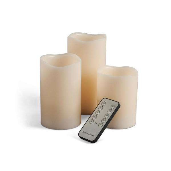 Gerson Wavy Bisque LED Pillars Candle (Set of 3) 41560EC