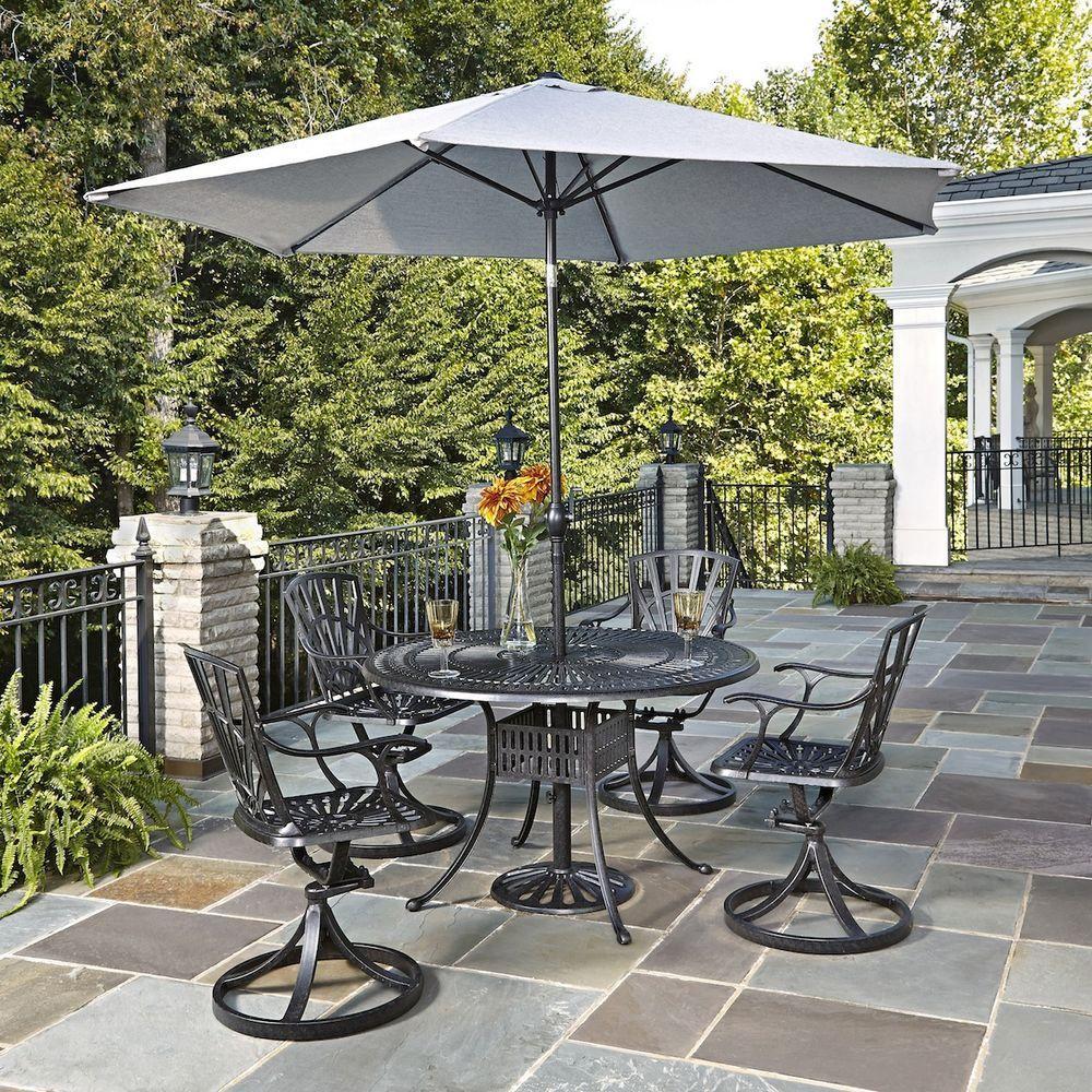 Largo 48 in. 5-Piece Patio Dining Set with Umbrella