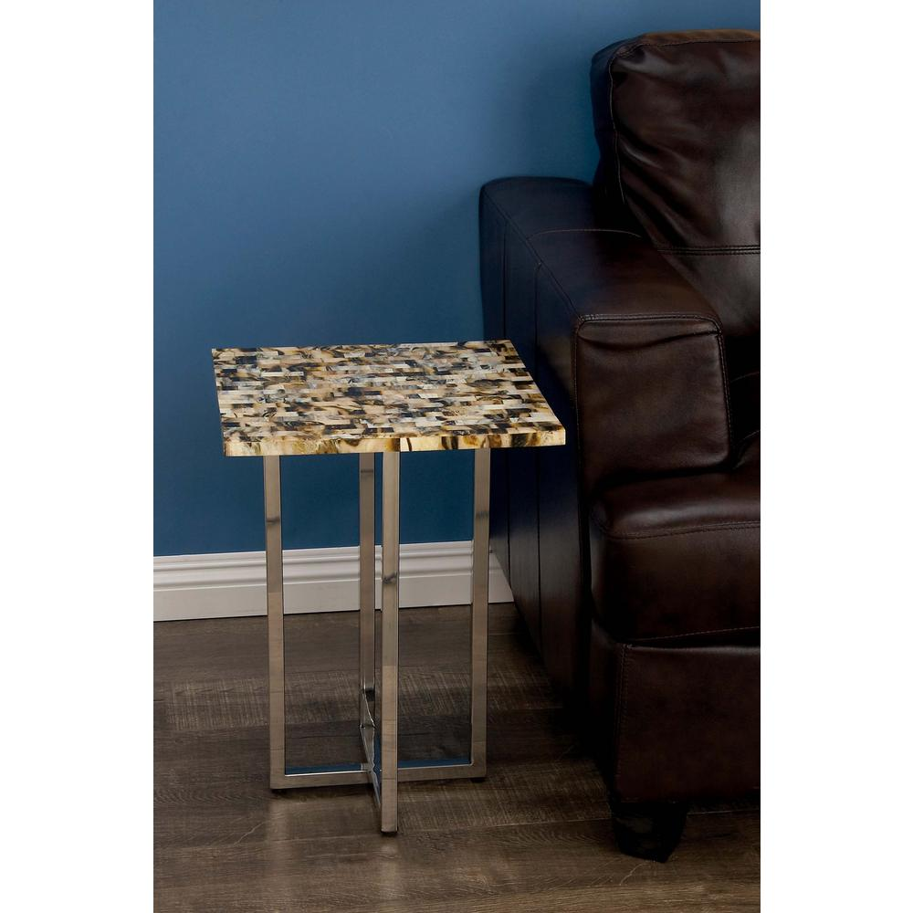 Modern Accent Table in Silver and Brown